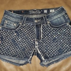 Miss Me blue jean shorts with bling !